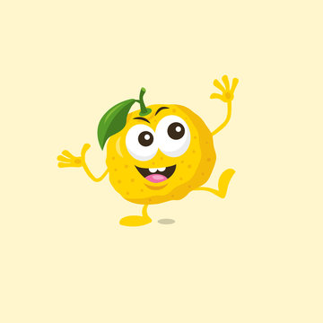 Illustration of cute happy yuzu mascot with big smile isolated on light background. Flat design style for your mascot branding.