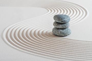 Photo on textile frame Zen Japanischer Zen Garten im Sand