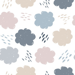 Scandinavian clouds seamless pattern. Weather background. Rain backdrop. Texture for wallpaper, background, scrapbook. Vector illustration