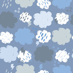 Scandinavian clouds seamless pattern. Hand drawn storm backdrop. Weather background. Simple style. Texture for wallpaper, background, scrapbook. Vector illustration