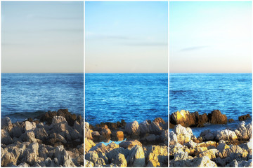 Triptyque d'un paysage marin à différentes heures du jour du lever au coucher du soleil Wall mural