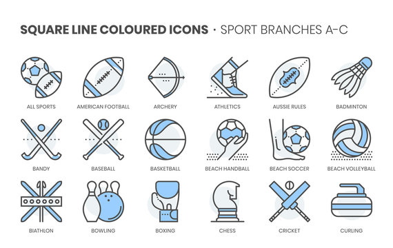 Sports related, square line color vector icon set for applications and website development. The icon set is pixelperfect with 64x64 grid. Crafted with precision and eye for quality.