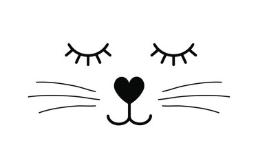 Vector flat cartoon black cat face isolated on white background