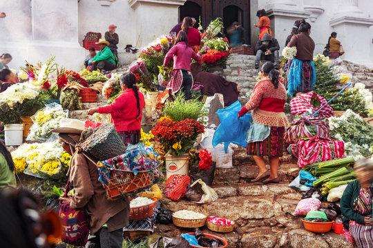Chichicastenango, Flower Market and Church Santo Tomás, Guatemala