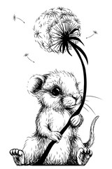 Wall sticker. Cute little mouse is holding a dandelion flower.