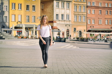Girl at Castle Square in Warsaw, Poland