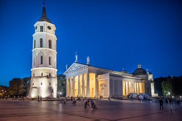 Cathedral Basilica Of St. Stanislaus And St. Vladislav With The Bell Tower in Vilnius, Lithuania at night