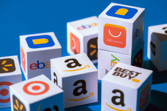 Paper Boxes with eCommerce Brand Logotypes