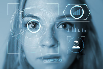 Modern cyber girl with technolgy concept, smart contact lens display, Iris verification, wearable computing, abstract image visual.