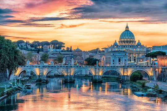 The city of Rome at sunset
