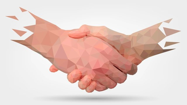 Low poly hands, handshaking, partners, friendship or business partnership