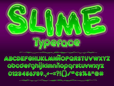 Green glowing toxic slime font. Halloween vector alphabet