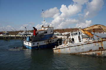 Destroyed boats are seen at a marina after Hurricane Dorian hit the Abaco Islands in Marsh Harbour