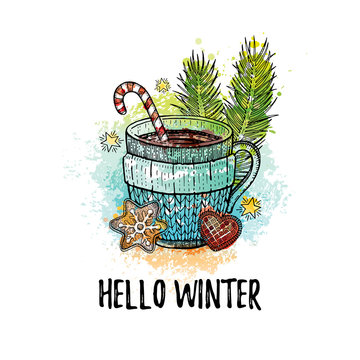 Hello Winter hand drawn doodle poster. Hot tea coffee cup. Cute sketch holiday concept. Line icon on watercolor grunge splash background. Vector illustration isolated on white. For t-shirt print, card