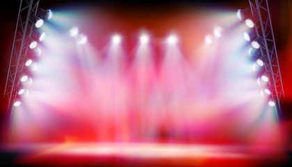 Stage illuminated by spotlights during the show on the stadium. Red background. Vector illustration. Fototapete