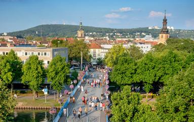 Saarbrücken –Blick auf die Alte Brücke, Finanzamt, St. Johanner Markt und evangelische Kirche