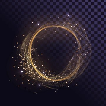 Wavy round gold frame, shining ring with sparks