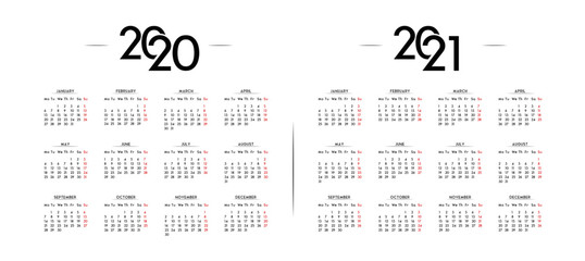 English Minimalist Calendar Year 2020 and 2021