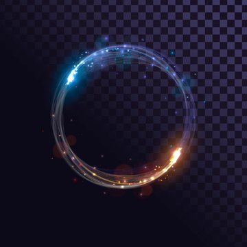 Blue and orange flash, glow ring, shiny spin effect with sparks