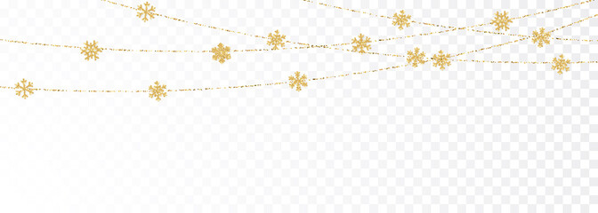 Christmas or New Year golden decoration on transparent background. Hanging glitter snowflake. Vector illustration