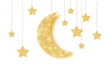Ramadan Kareem background with gold handing shiny glitter glowing moon with stars on white background. Vector illustration