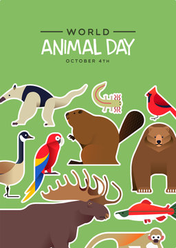 World animal day card of cute wildlife stickers