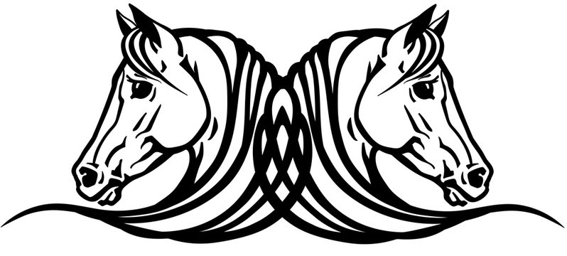Two heads of Arabian horses in profile. Logo, icon, emblem, tattoo style black and white vector illustration