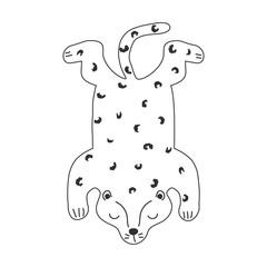 Black and white leopard. Kids funny print. Vector hand drawn illustration.