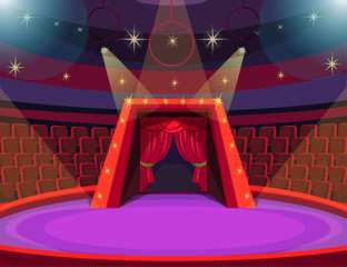 Empty circus arena flat vector illustration