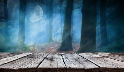 Empty wooden table - Halloween background Fototapete
