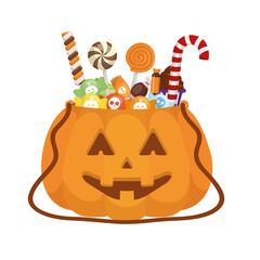 Halloween candies and pumpkin vector design