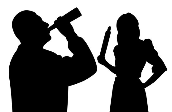 Husband drinking alcohol from bottle and angry wife holding rolling pin. Family problem alcoholism.