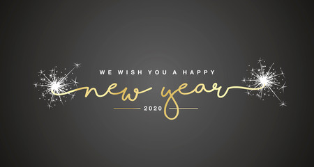 We wish you Happy New Year 2020 handwritten lettering tipography sparkle firework gold white black background Fotomurales