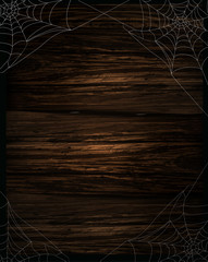 spider and webs over grunge wooden background vector