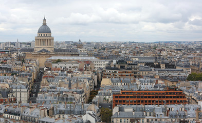 Panoramic view of Paris in France and the palace called Pantheon