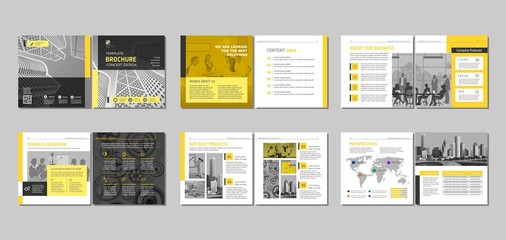 Brochure creative design. Multipurpose template, include cover, back and inside pages. Trendy minimalist flat geometric design. Square format.