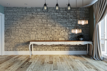 empty living room interior decoration modern lamp and wooden floor, stone wall concept. decorative background for home, office, hotel. 3D illustration