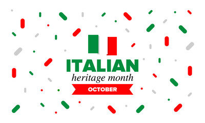 National Italian American Heritage Month. Happy holiday celebrate annual in October. Italy and United States flag. Culture month. Patriotic design. Poster, card, banner, template. Vector illustration