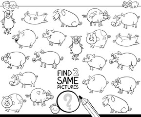 find two same pig characters coloring book