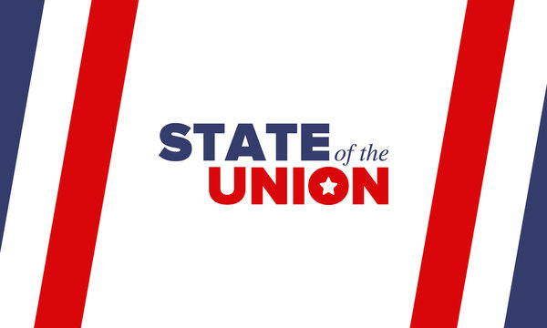 State of the Union Address in United States. Annual deliver from the President of the US address to Congress. Speech President. Patriotic american elements. Poster, card, banner, background. Vector
