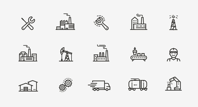 Industry icon set. Factory, manufacturing symbol. Vector illustration
