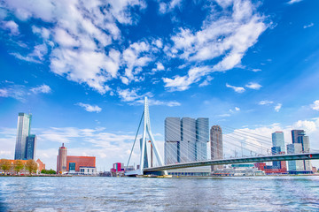 Zelfklevend Fotobehang Rotterdam Attractive View of Renowned Erasmusbrug (Swan Bridge) in Rotterdam in front of Port and Harbour. Picture Made At Day.