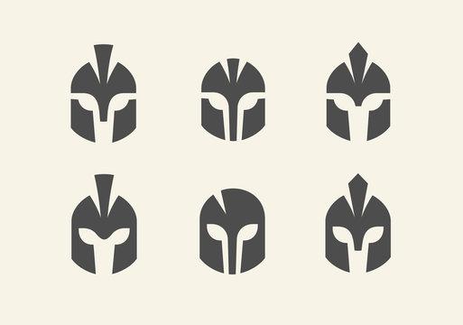Set of warrior helmet logo, spartan icon collection, gladiator head symbol - Vector