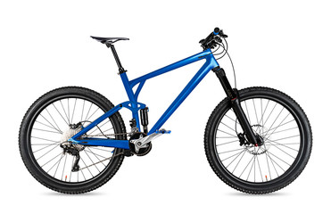 blue enduro carbon all mountain bike with full supsension and 650b wheels. fully mountainbike for offroad bicycle extreme sport isolated  white background Fototapete