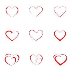 Set of red hearts icon with different outline hearts, vector illustration. Design elements for Valentine's day.