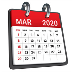 March 2020 monthly calendar vector illustration