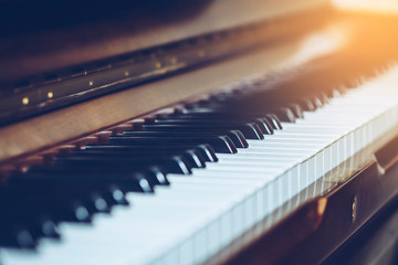 selective and soft focus of piano keys for music background