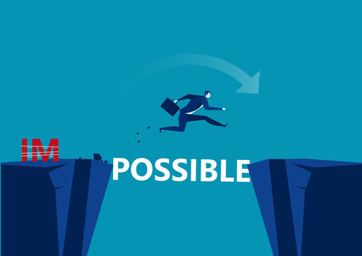 Business conquering obstacles challenge possible concept. Businessman taking risk jumping over gap, vector illustration