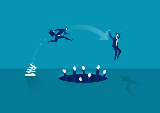 businessman high-jumps over pit . Business and competitions. Personal growth. Overcome difficulties. vector