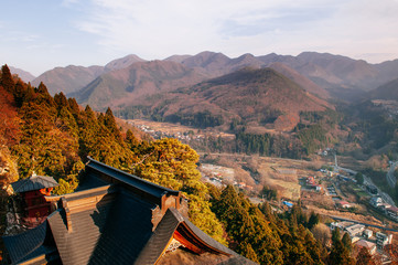 Kaisando hall roof and village view at Yamadera Risshaku ji temple, Yamagata - Japan